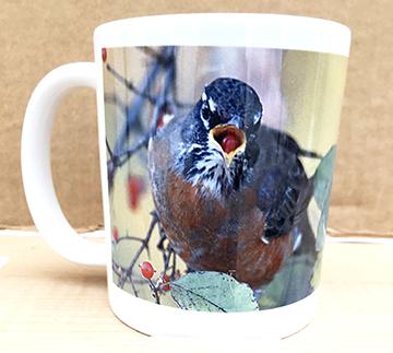 Robin with berry mug